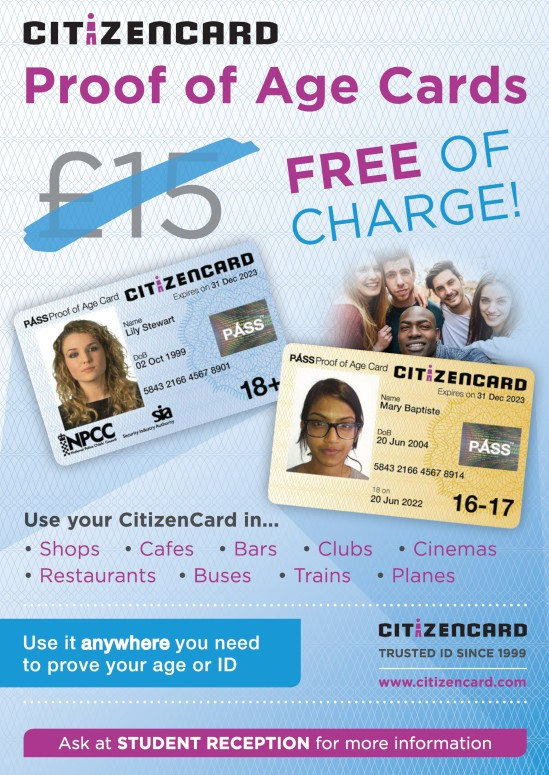 CitizenCard free ID cards poster for schools in UK