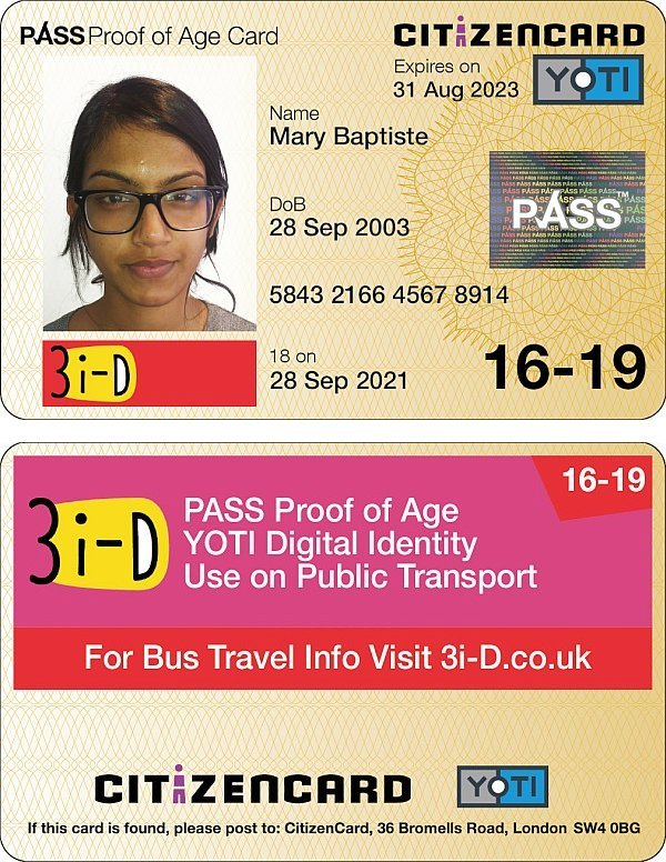 3i-D Yoti CitizenCard, East Sussex ID card, for applicants aged 16-19