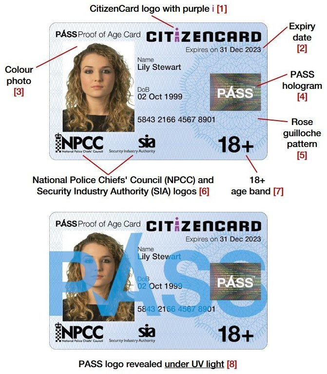 Security features of CitizenCard, a UK ID card, for cardholders aged over 18
