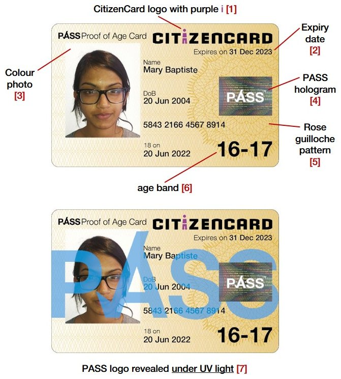 Security features of CitizenCard, a UK ID card, for cardholders aged under 18