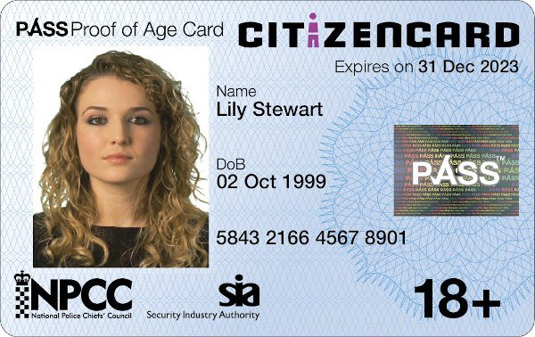ID card for over 18s living in UK