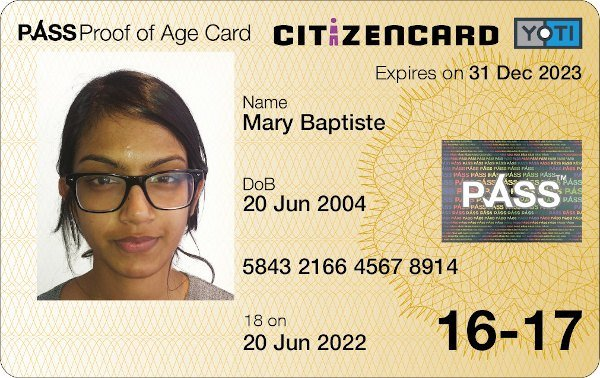 Yoti CitizenCard, a UK ID card, for applicants aged 16 and 17