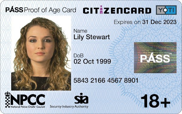 Yoti CitizenCard, a UK ID card, for applicants aged over 18